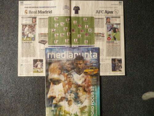 REAL MADRID CF v AJAX AFC PROGRAMME 4.12.2012 UEFA CHAMPIONS LEAGUE group