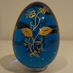 BACCARAT-EGG-DECOR-ART-COLLECTIBLE-BLUE-RARE-CRYSTAL-GLASS-EASTER-F-S-JAPAN