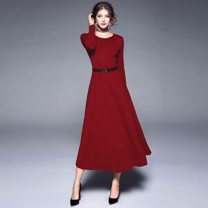 Vestiti Maniche Lunghe Eleganti.Elegante Vestito Abito Lungo Morbido Rosso Scampanato Maniche