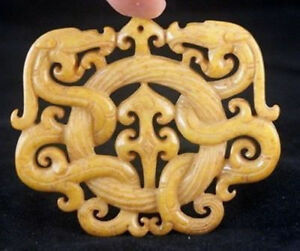 CHINESE-OLD-HANDWORK-OLD-YELLOW-JADE-CARVED-DRAGON-PENDANT