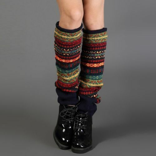 Lady Girl Boho Look Knitted Socks Crochet Boots Over Knee Winter Leg Calf Warmer
