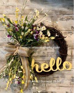 Hello Farmhouse Front Door Wreath Yellow Purple Green 29 Diameter Ebay
