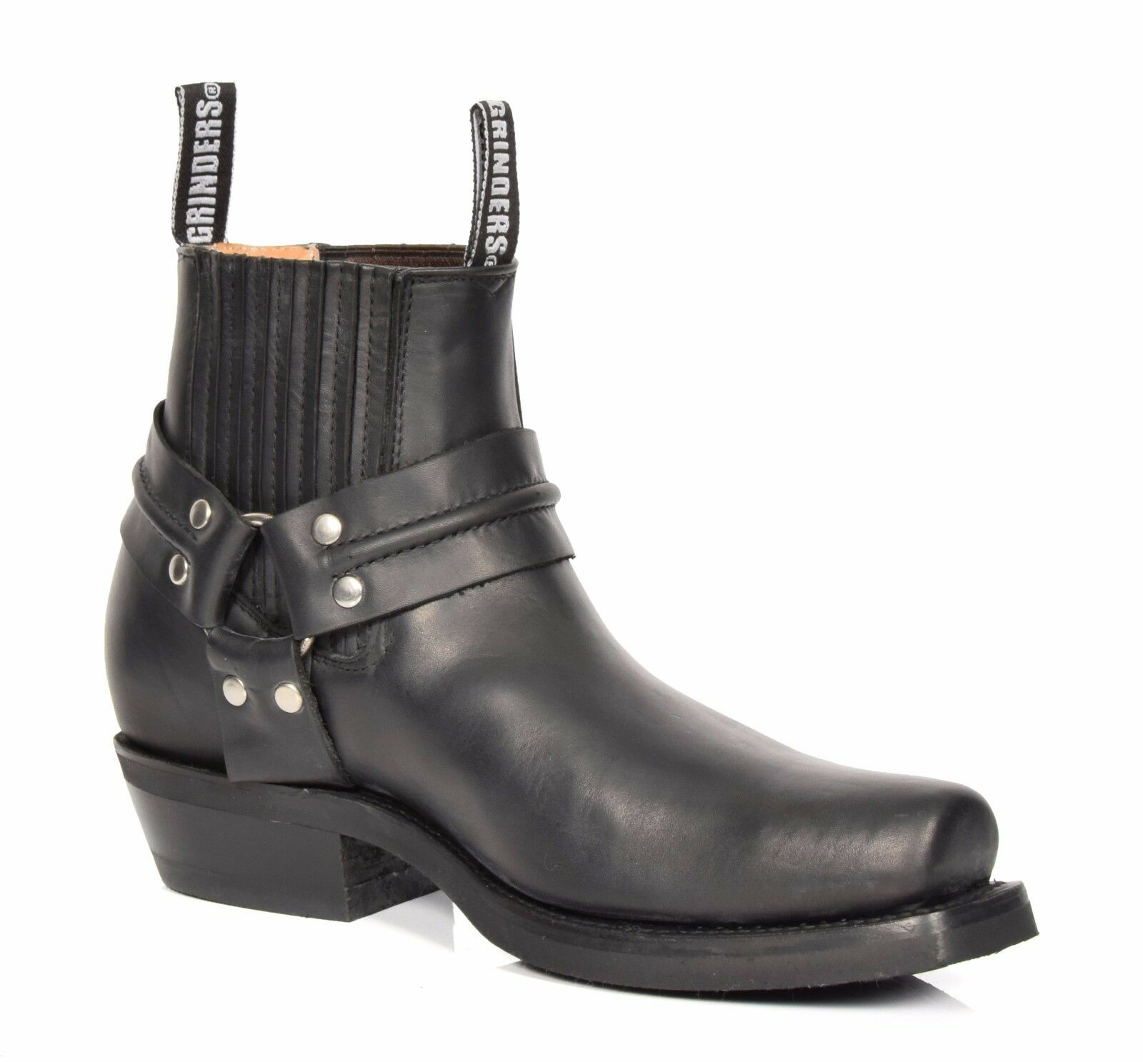 Real Leather Chelsea Boots Cowboy Biker Style Slip On Square Toe shoes Black