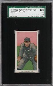 Rare 1909-11 T206 Lou Ritter Piedmont 350 Kansas City SGC 60 / 5 EX