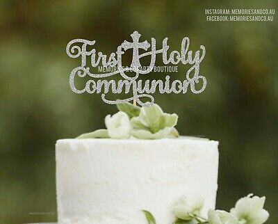 God Bless Personalized Cake Topper for Baptism Confirmation Communion Sparkle Card Stock Paper Decor