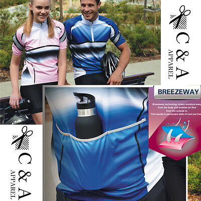 Fully Sublimated Unisex Cycling Jersey Top with Reflective Trim /& Back Pockets