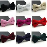 Men Stylish Knitting Crochet Solid Color Adjustable Bow Tie Bowtie Necktie