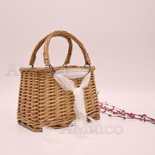 Caja Cuadrada para Mujer sólido Cesta Bolso paja tejida de bambú Bolsa Bolsa De Embrague Bolso De Mimbre
