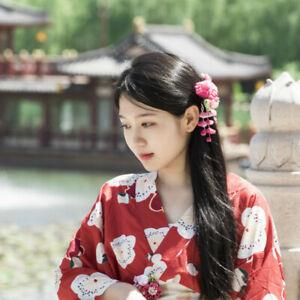 Sakura-Tsumami-zaiku-kanzashi-Hair-pin-Japanese-Geisha-Flower-Kimono-Accessory