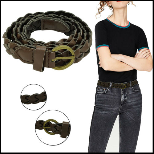Weaved Braided Skinny Narrow Thin Brown Waist Belt Ladies Jeans Dresses Fashion