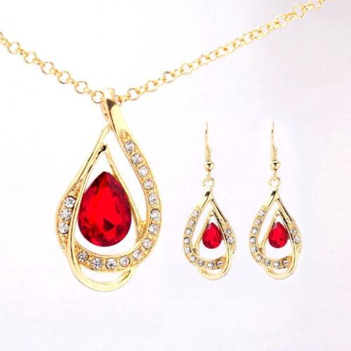 Pendientes Joyería conjuntos. Color de Oro Amarillo De Cristal Rojo Collar