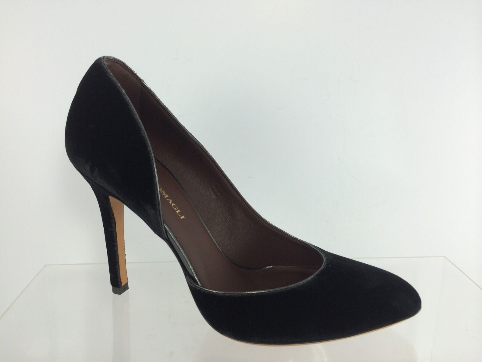 New Bruno Magli Womens Velour Black Dressy Pump Shoes 37.5