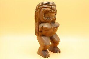 9-034-VINTAGE-TIKI-GOD-MONKEY-WOOD-CARVING-LUAU-BAR-HAWAII-FOLK-ART