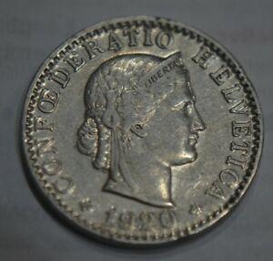 1920-SWITZERLAND-20-RAPPEN-Confoederatio-Helvetica-coin-Great-Condition