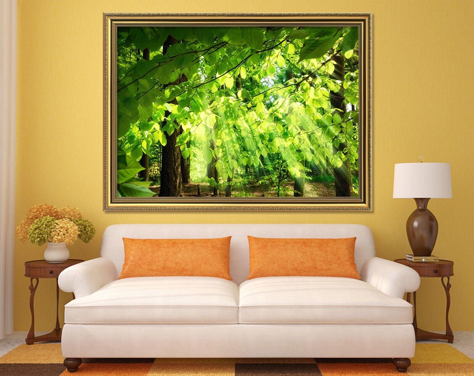 3D Grün Leaves Sunlight 2 Framed Poster Home Decor Drucken Painting Kunst WandPapier
