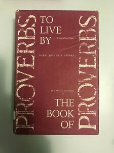 Details about Proverbs To Live By, Mishlei, English Modern Translation,  Rabbi Joshua Sperka