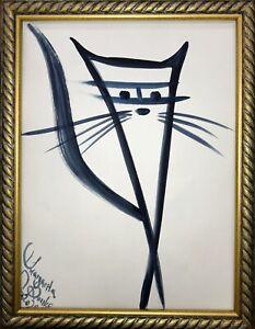 Margarita-Bonke-Malerei-Zeichnung-art-schwarz-katze-cat-A3-blau-black-abstract