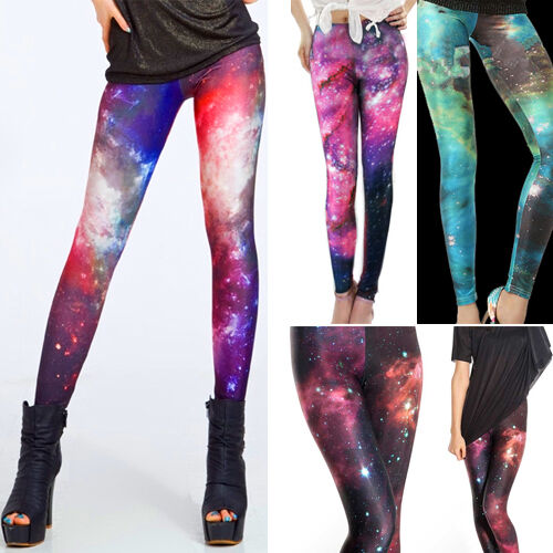 Ladies Galaxy Cosmic Printed Stretchy Jeans Leggings Tight Pants Chic Graphic US