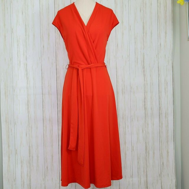 H&M Red Faux Wrap Dress Size Small Womens Flare Belted euc