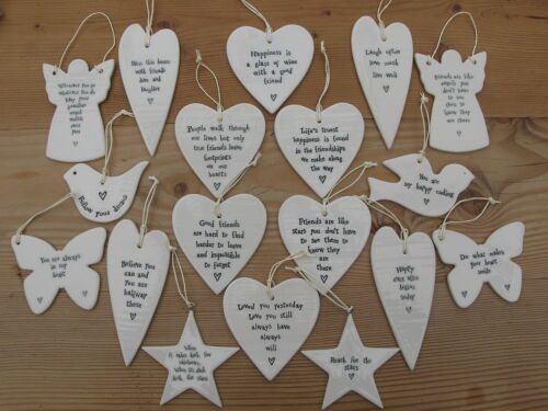 East of India Porcelain Ceramic Hanging Hearts Butterflys Stars Birds Angels
