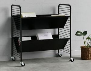 Image Is Loading Steel Bookshelf Trolley Black Movable Bookcase 5 Days