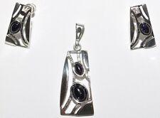 925 Silber Schmuck Set mit Blaufluss - Exclusiv - Beste Preis beim Hersteller !!