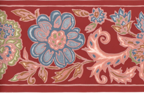 Red Blue Green Art Deco Floral Floral Paisley Wall paper Border DILONO 9877-2