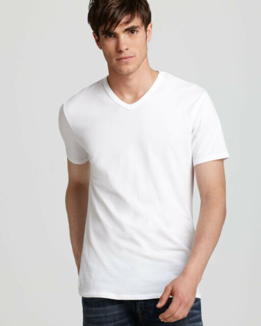 83a955f4 2 Calvin Klein Mens Slim Fit V-neck T-shirts White Size Small S ...