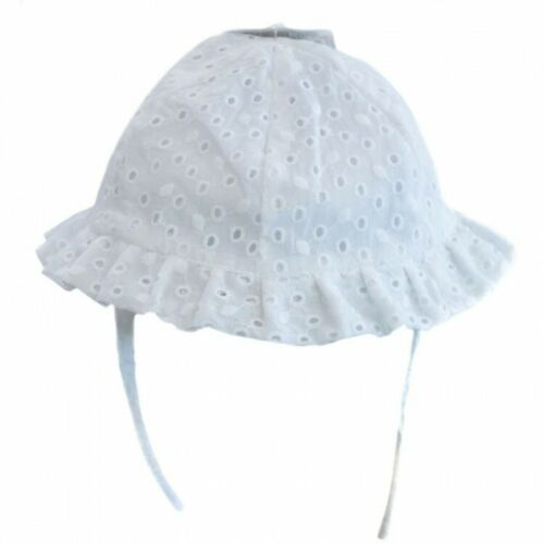 Baby Girls Pretty Spanish Style White Frilly Broderie Anglaise Sun Hat Bonnet