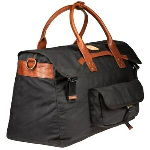 Details about NWT $300 Will Leather Goods Fern Duffel Bag Black  water-resistant waxed-cotton