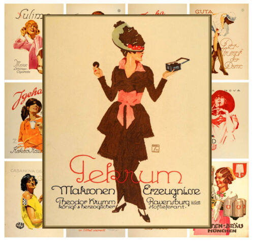 """Mini Posters 13 pages 8/""""x11/""""//A4 Ludwig Hohlwein Vintage Lady Germany Ads MP585"""