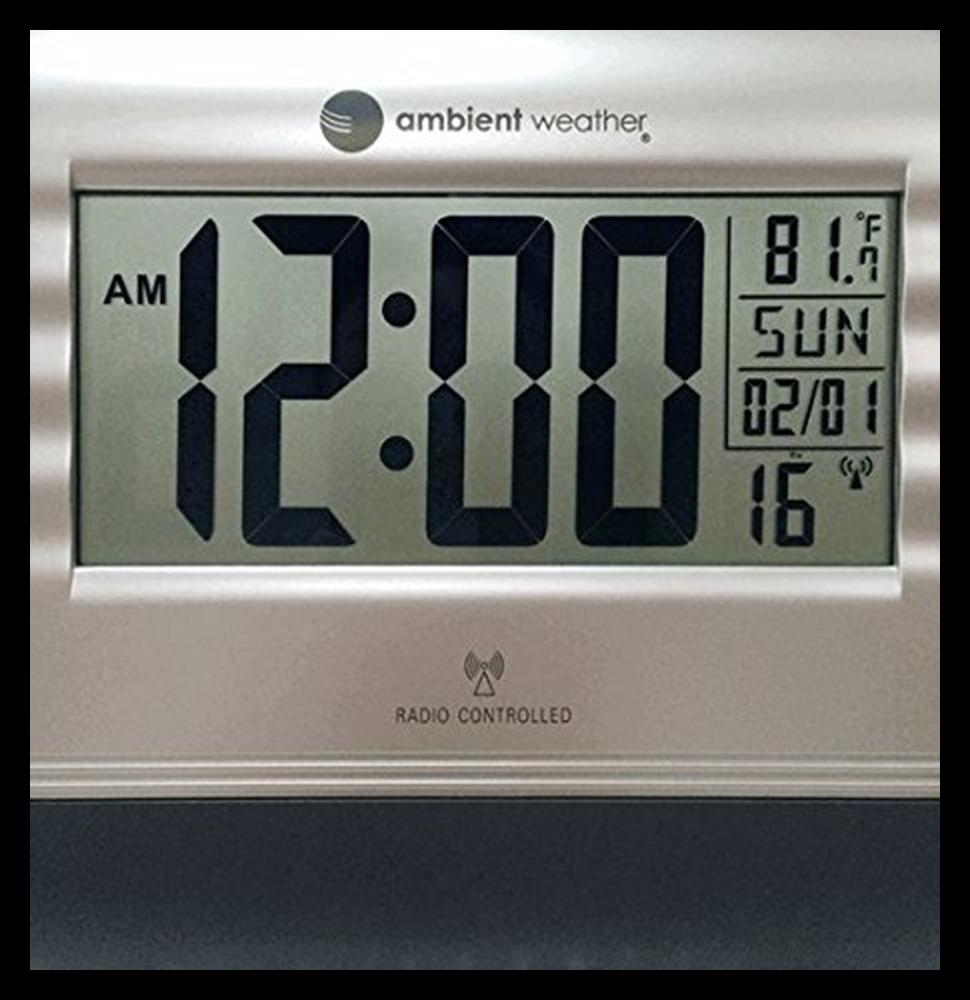RC 9362 Atomic Digital Wall Clock W Temperature SILVER & BLA