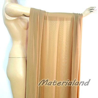 "160cm(63"") Width Skin (Middle Nude) Power 4 Way Stretch Spandex Mesh Net Fabric"