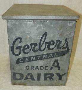 vintage gerber 39 s central dairy porch box milk bottle holder bluffton ind ebay. Black Bedroom Furniture Sets. Home Design Ideas