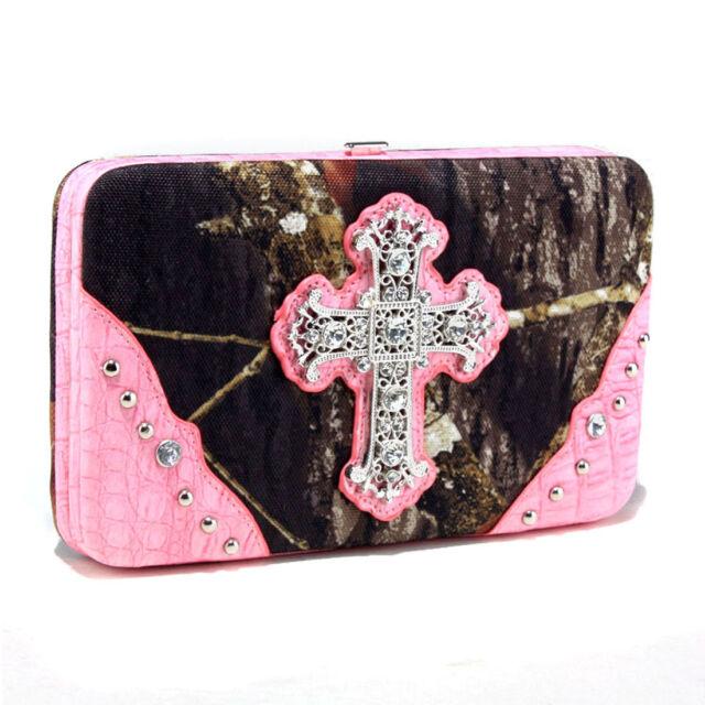 New Fashion Luxury Mossy Oak® Camouflage Rhinestone Lady Bag Women Purse Wallet