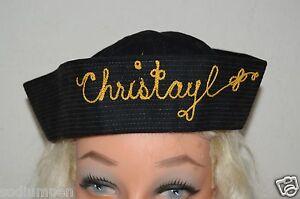 WOW-Vintage-CHRISTAYL-Sewn-Name-Sailor-Hat-Amusement-Park-Souvenir-Rare