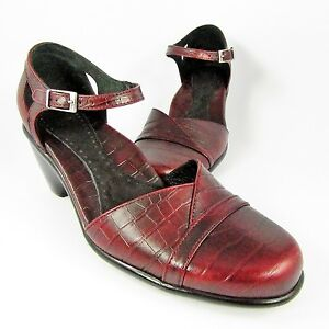 Dansko-Ankle-Strap-Pump-Womens-Size-6-5M-EU-37-Burgundy-Croc-Leather-Mary-Jane