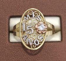 14k Rose & Yellow Gold Sweet 15 Birthday Cross Flower Quinceanera Ring Band Girl