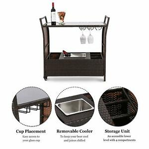 Details About Outdoor Wicker Serving Bar Cart Patio Rolling Trolley Table Ice Bucket Wine Rack