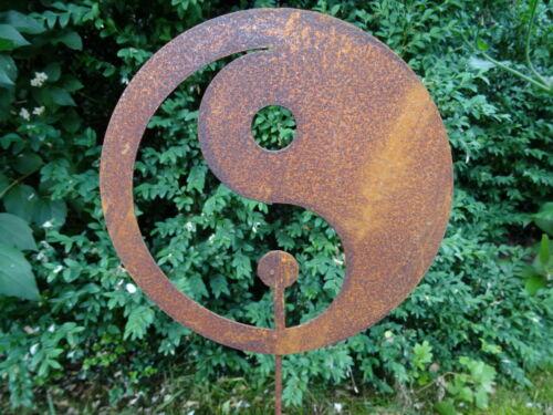 63 cm hoch Chinesisch Rost Gartenstecker Yin /& Yang Symbol aus Metall