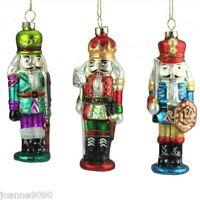 GISELA GRAHAM GLASS NUTCRACKER SOLDIER GLITTER CHRISTMAS TREE DECORATIONS GIFT