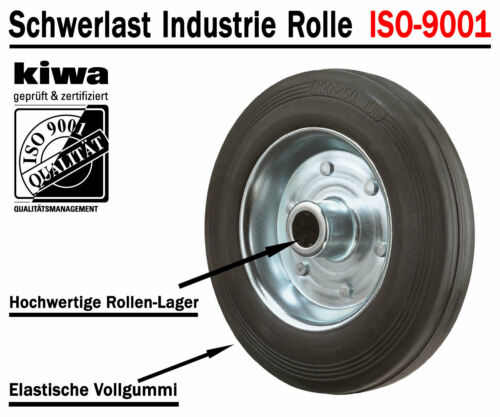 ISO-9001 Germany Schwerlast Rückenloch Transport Lenk Rollen 4 x Ø 100mm Br-Le