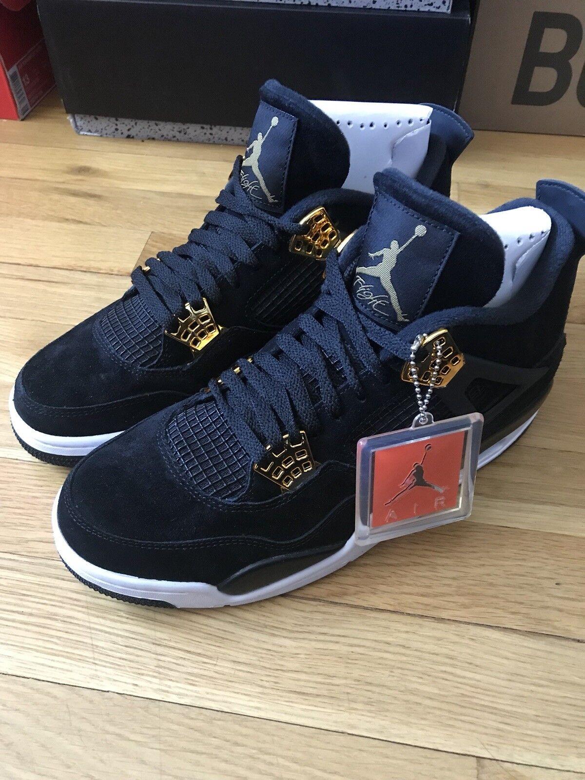 Nike Air Jordan 4 Retro Royalty IV Black Suede Metallic Gold 308497-032