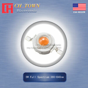 5Pcs 5 W Watt High Power Full Spectrum 380-840 Presque comme neuf DEL SMD Chip COB Lampe Lumières