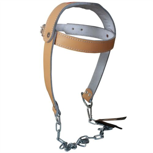 TurnerMAX Cowhide Leather Head Harness Neck Strap Dipping Building Heavy Chain