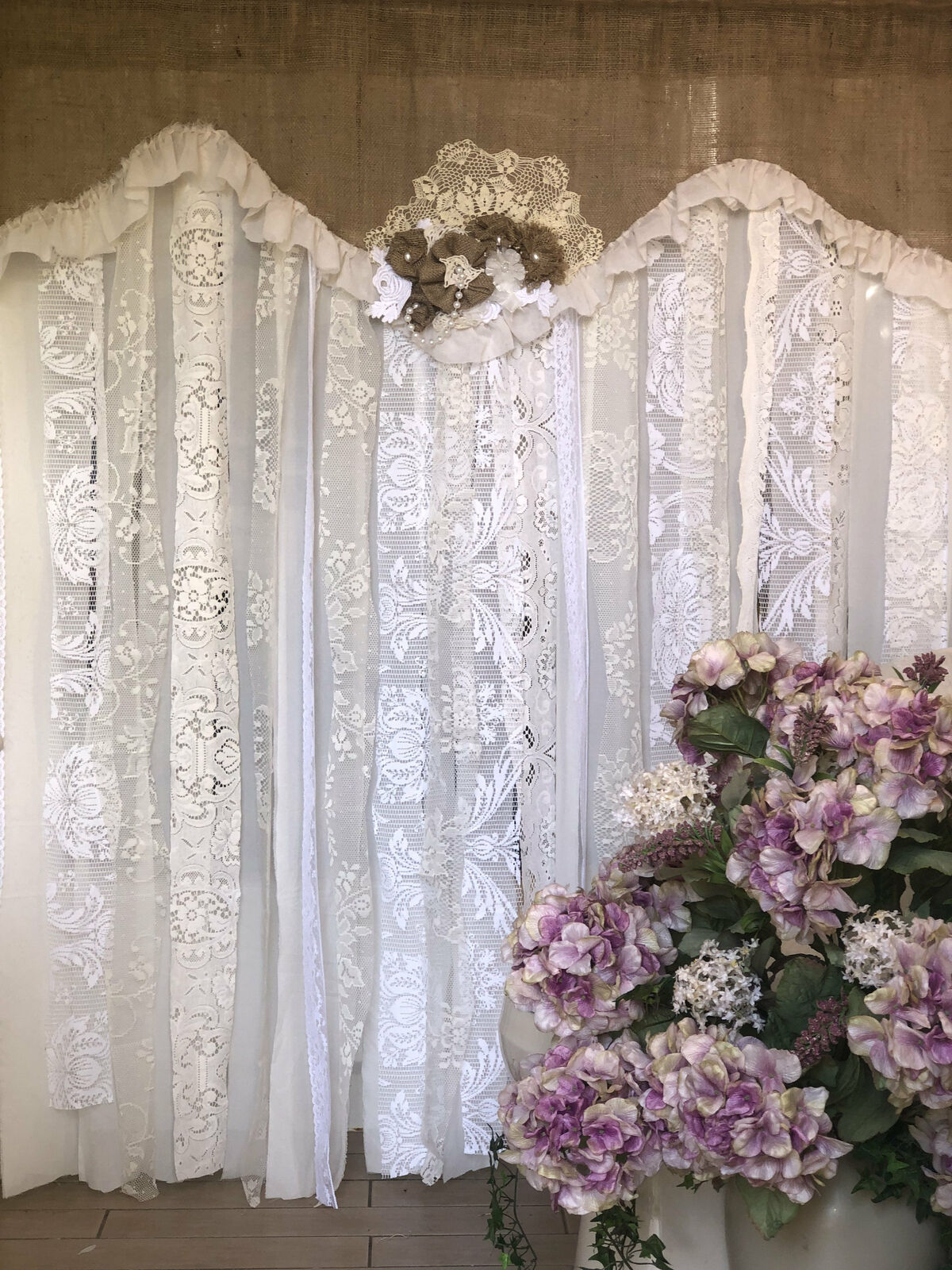 Boho Shower Curtain Crochet Shabby Rustic Chic Burlap Lace Ruffles French White For Sale Online Ebay