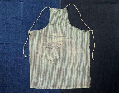 1920s Striped Denim Apron Antique 20s 1930s 30s Co