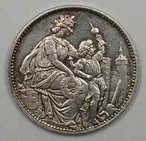 1865-Switzerland-Schaffhausen-Shooting-Festival-5-Francs-Silver-Coin-JA