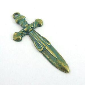 39216-Vintage-Retro-Bronze-Alloy-Sword-Pendant-Charm-Jewelry-Findings-6PCS