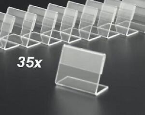 35x porte tiquette de prix info en plexiglas pr sentoir acrylique 0 41 pi ce ebay. Black Bedroom Furniture Sets. Home Design Ideas